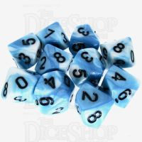 TDSO Duel Teal & White 10 x D10 Dice Set