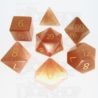 TDSO Cats Eye Champagne with Engraved Numbers 16mm Precious Gem 7 Dice Polyset