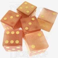 TDSO Cats Eye Champagne with Engraved Spots 16mm Precious Gem 6 x D6 Dice Set