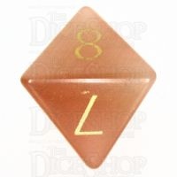 TDSO Cats Eye Champagne with Engraved Numbers 16mm Precious Gem D8 Dice