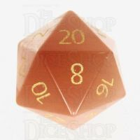 TDSO Cats Eye Champagne with Engraved Numbers 16mm Precious Gem D20 Dice