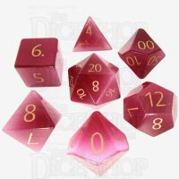 TDSO Cats Eye Pink with Engraved Numbers 16mm Precious Gem 7 Dice Polyset