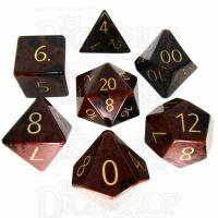 TDSO Obsidian Mahogany with Engraved Numbers 16mm Precious Gem 7 Dice Polyset