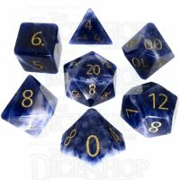 TDSO Sodalite Dark with Engraved Numbers 16mm Precious Gem 7 Dice Polyset
