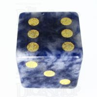TDSO Sodalite Light with Engraved Spots 16mm Precious Gem D6 Dice