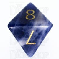 TDSO Sodalite Dark with Engraved Numbers 16mm Precious Gem D8 Dice