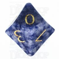 TDSO Sodalite Dark with Engraved Numbers 16mm Precious Gem D10 Dice