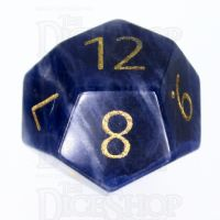 TDSO Sodalite Dark with Engraved Numbers 16mm Precious Gem D12 Dice
