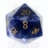TDSO Sodalite Dark with Engraved Numbers 16mm Precious Gem D20 Dice
