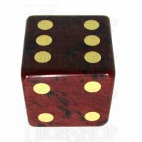 TDSO Obsidian Mahogany with Engraved Spots 16mm Precious Gem D6 Dice