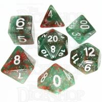TDSO Galaxy Glitter Green & Red 7 Dice Polyset