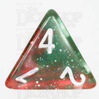 TDSO Galaxy Glitter Green & Red D4 Dice