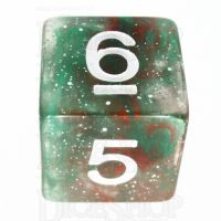 TDSO Galaxy Glitter Green & Red D6 Dice