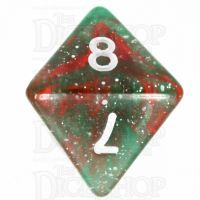 TDSO Galaxy Glitter Green & Red D8 Dice