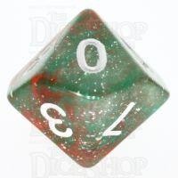 TDSO Galaxy Glitter Green & Red D10 Dice