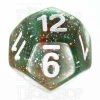 TDSO Galaxy Glitter Green & Red D12 Dice