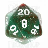 TDSO Galaxy Glitter Green & Red D20 Dice