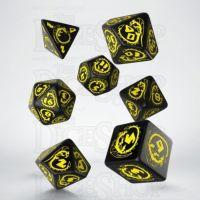 Q Workshop Dragon Black & Yellow 7 Dice Polyset