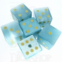 TDSO Cats Eye Mint Blue with Engraved Spots 16mm Precious Gem 6 x D6 Dice Set