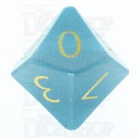 TDSO Cats Eye Mint Blue with Engraved Numbers 16mm Precious Gem D10 Dice