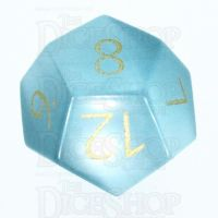 TDSO Cats Eye Mint Blue with Engraved Numbers 16mm Precious Gem D12 Dice