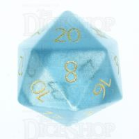 TDSO Cats Eye Mint Blue with Engraved Numbers 16mm Precious Gem D20 Dice