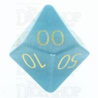 TDSO Cats Eye Mint Blue with Engraved Numbers 16mm Precious Gem Percentile Dice