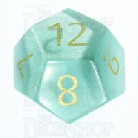 TDSO Cats Eye Mint Green with Engraved Numbers 16mm Precious Gem D12 Dice