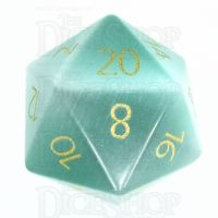 TDSO Cats Eye Mint Green with Engraved Numbers 16mm Precious Gem D20 Dice