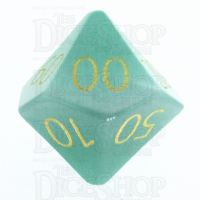 TDSO Cats Eye Mint Green with Engraved Numbers 16mm Precious Gem Percentile Dice