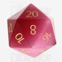 TDSO Cats Eye Pink with Engraved Numbers 16mm Precious Gem D20 Dice