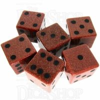 TDSO Goldstone Gold with Engraved Spots 16mm Precious Gem 6 x D6 Dice Set