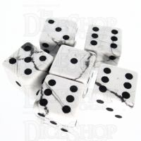 TDSO Howlite White with Engraved Numbers 16mm Precious Gem 6 x D6 Dice Set