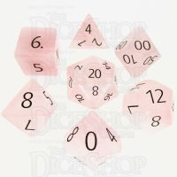 TDSO Quartz Rose with Engraved Numbers 16mm Precious Gem 7 Dice Polyset