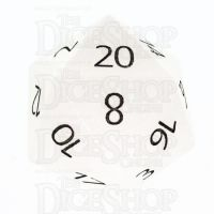 TDSO Quartz Snow with Engraved Numbers 16mm Precious Gem D20 Dice