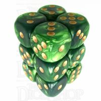 TDSO Duel Dark Green & Pearl Light Green 12 x D6 Dice Set