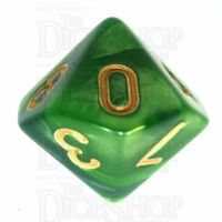 TDSO Duel Dark Green & Pearl Light Green D10 Dice