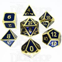 TDSO Metal Fire Forge Gold & Blue Enamel 7 Dice Polyset