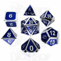 TDSO Metal Fire Forge Silver & Blue Enamel 7 Dice Polyset
