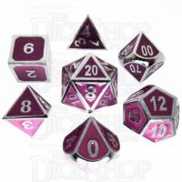 TDSO Metal Fire Forge Silver & Purple Enamel 7 Dice Polyset