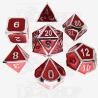 TDSO Metal Fire Forge Silver & Red Enamel 7 Dice Polyset