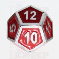 TDSO Metal Fire Forge Silver & Red Enamel D12 Dice