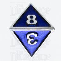 TDSO Metal Fire Forge Silver & Blue Enamel D8 Dice