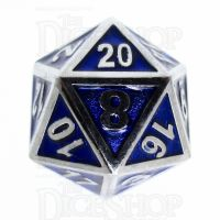 TDSO Metal Fire Forge Silver & Blue Enamel D20 Dice