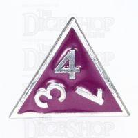 TDSO Metal Fire Forge Silver & Purple Enamel D4 Dice