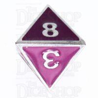 TDSO Metal Fire Forge Silver & Purple Enamel D8 Dice