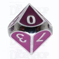 TDSO Metal Fire Forge Silver & Purple Enamel D10 Dice