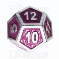 TDSO Metal Fire Forge Silver & Purple Enamel D12 Dice