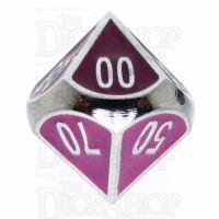 TDSO Metal Fire Forge Silver & Purple Enamel Percentile Dice