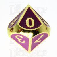 TDSO Metal Fire Forge Gold & Purple Enamel D10 Dice
